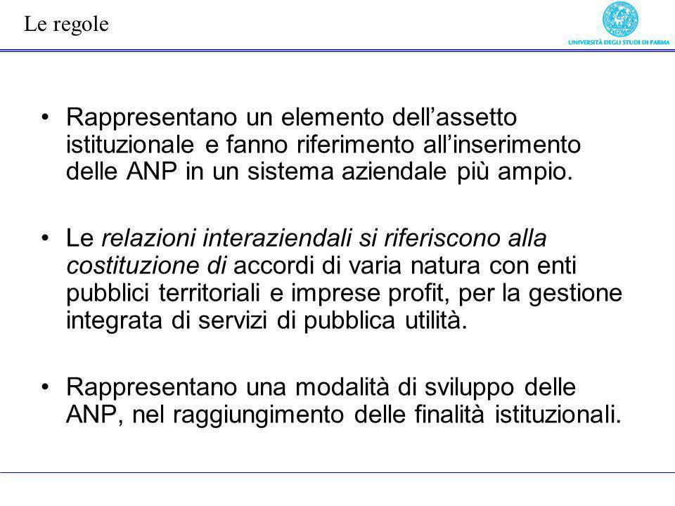 Rappresentano un elemento dellassetto istituzionale e fanno riferimento allinserimento delle ANP in un sistema aziendale più ampio. Le relazioni inter