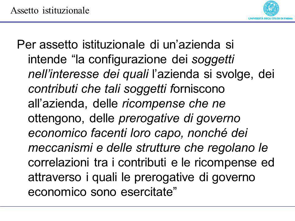 Per assetto istituzionale di unazienda si intende la configurazione dei soggetti nellinteresse dei quali lazienda si svolge, dei contributi che tali s