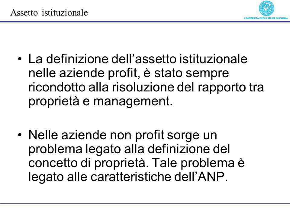 La definizione dellassetto istituzionale nelle aziende profit, è stato sempre ricondotto alla risoluzione del rapporto tra proprietà e management. Nel