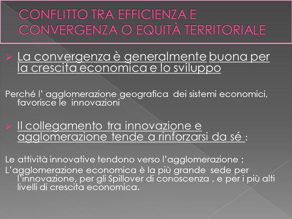 La convergenza è generalmente buona per la crescita economica e lo sviluppo Perché l agglomerazione geografica dei sistemi economici, favorisce le innovazioni Il collegamento tra innovazione e agglomerazione tende a rinforzarsi da sé : Le attività innovative tendono verso lagglomerazione ; Lagglomerazione economica è la più grande sede per linnovazione, per gli Spillover di conoscenza, e per i più alti livelli di crescita economica.