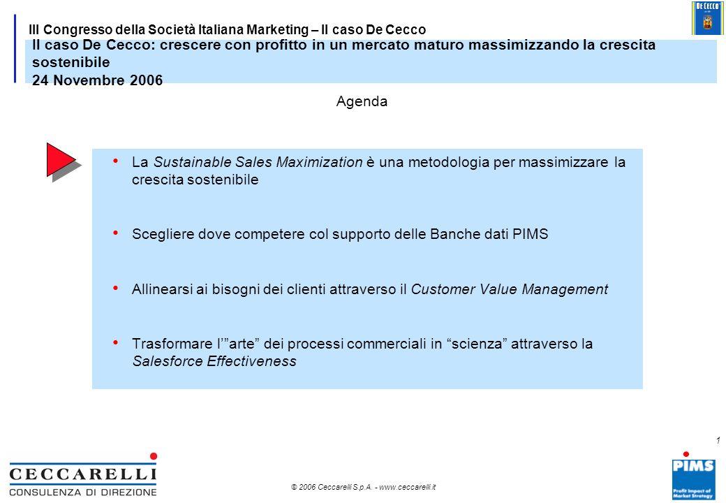 © 2006 Ceccarelli S.p.A. - www.ceccarelli.it III Congresso della Società Italiana Marketing Parma, 24 Novembre 2006 Il caso De Cecco: crescere con pro