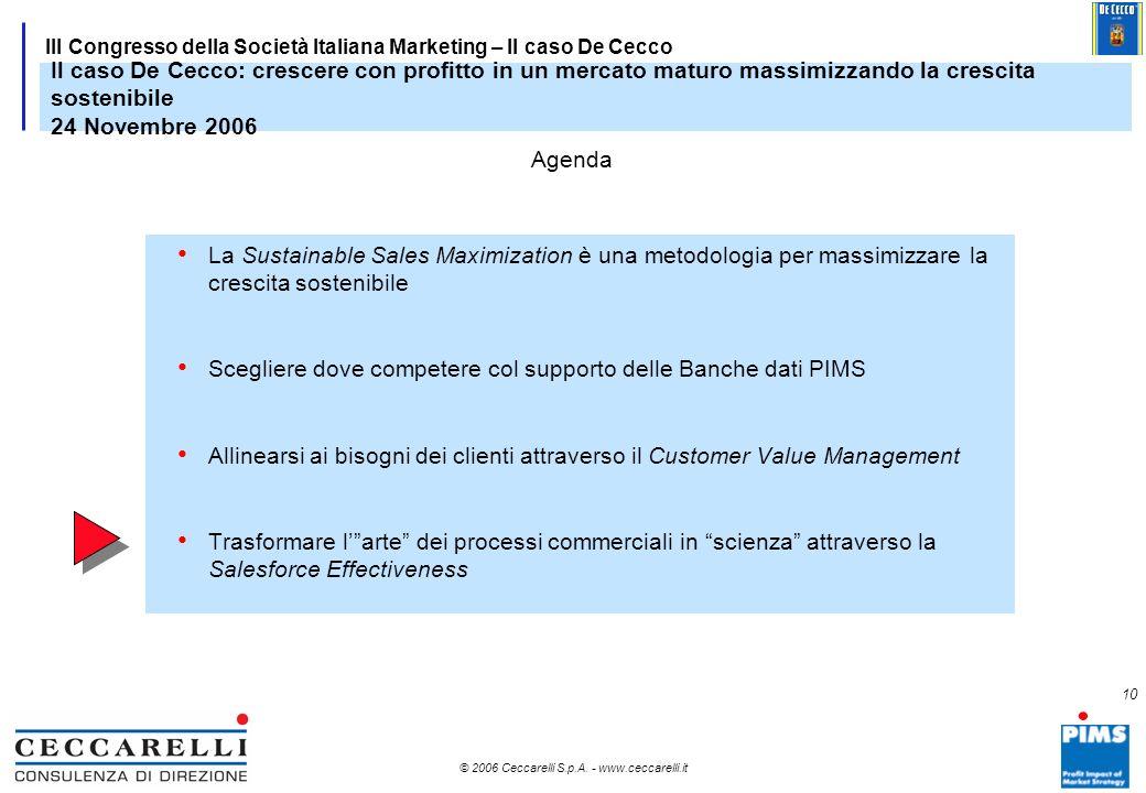 9 © 2006 Ceccarelli S.p.A. - www.ceccarelli.it 9 III Congresso della Società Italiana Marketing – Il caso De Cecco Mappa dei Differenziali Competitivi
