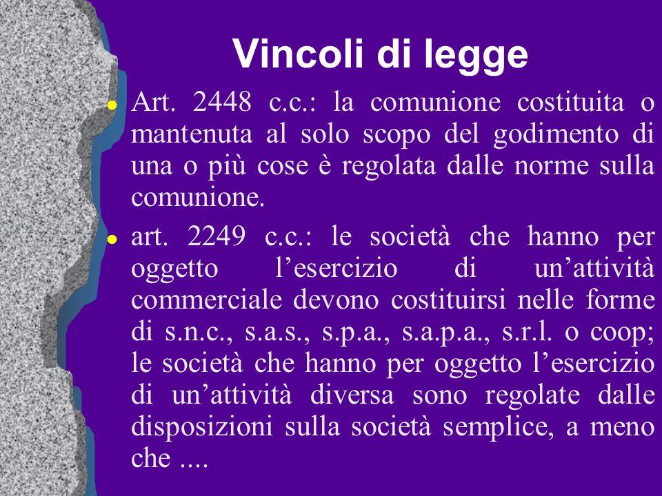 Vincoli di legge l Art. 2448 c.c.: la comunione costituita o mantenuta al solo scopo del godimento di una o più cose è regolata dalle norme sulla comu