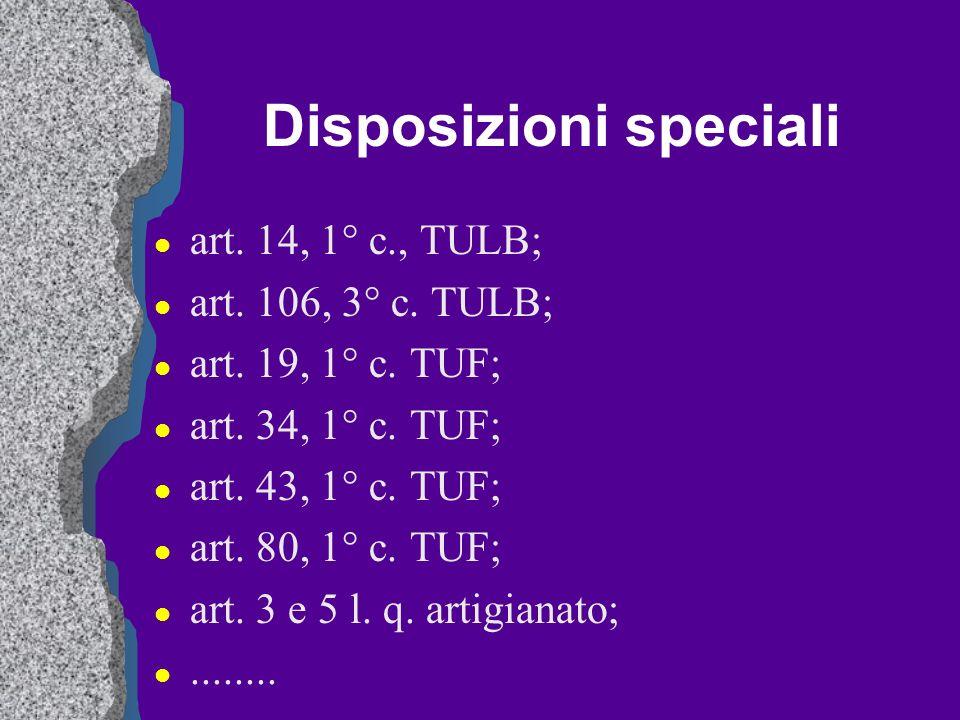 Disposizioni speciali l art. 14, 1° c., TULB; l art. 106, 3° c. TULB; l art. 19, 1° c. TUF; l art. 34, 1° c. TUF; l art. 43, 1° c. TUF; l art. 80, 1°