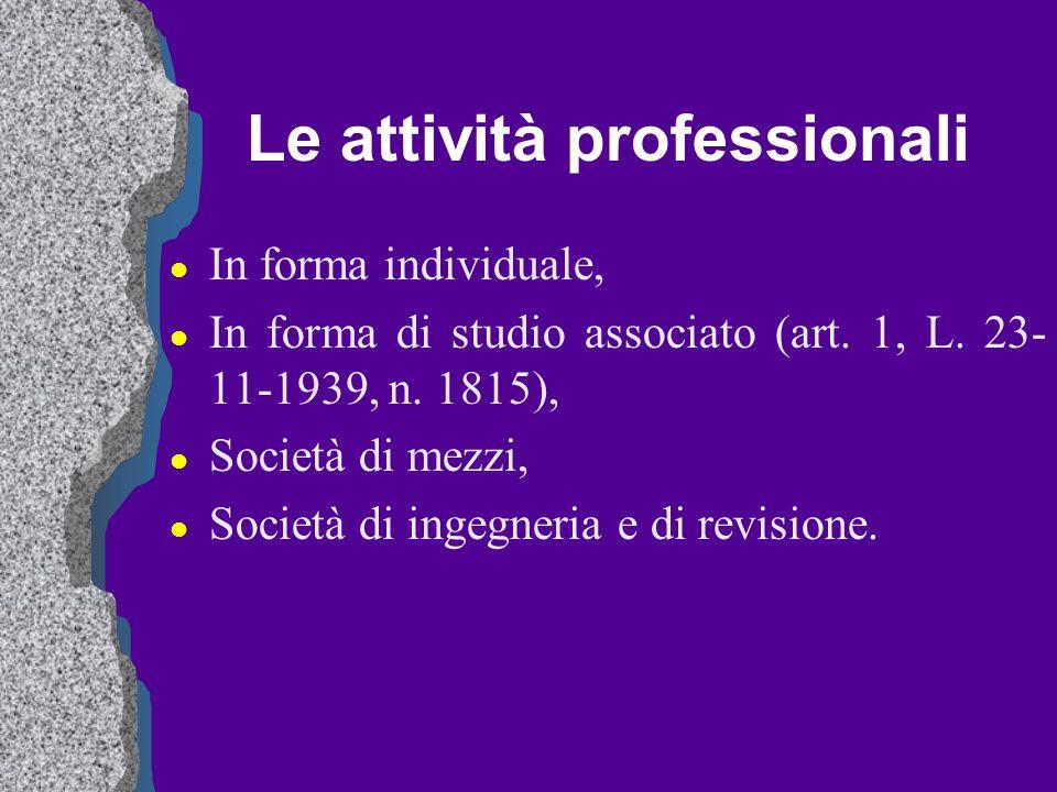 Le attività professionali l In forma individuale, l In forma di studio associato (art. 1, L. 23- 11-1939, n. 1815), l Società di mezzi, l Società di i