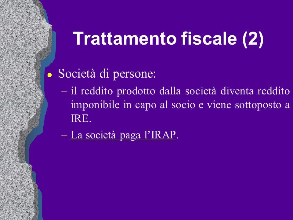 Trattamento fiscale (2) l Società di persone: –il reddito prodotto dalla società diventa reddito imponibile in capo al socio e viene sottoposto a IRE.