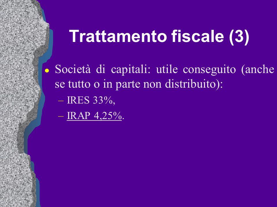 Trattamento fiscale (3) l Società di capitali: utile conseguito (anche se tutto o in parte non distribuito): –IRES 33%, –IRAP 4,25%.