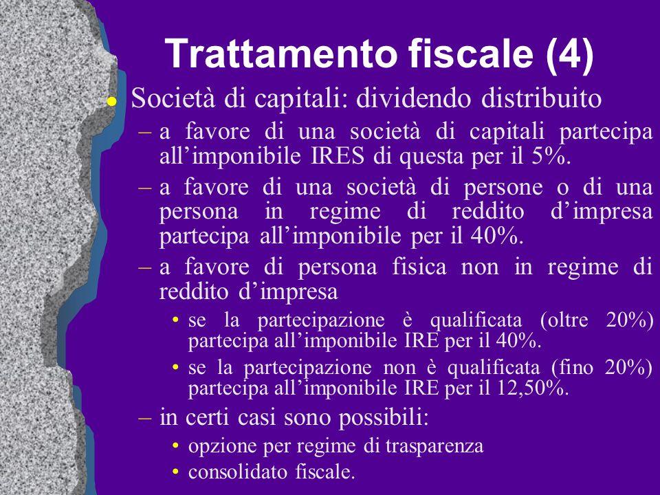 Trattamento fiscale (4) l Società di capitali: dividendo distribuito –a favore di una società di capitali partecipa allimponibile IRES di questa per i