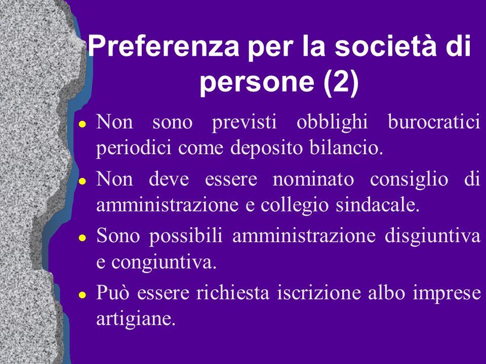 Preferenza per la società di persone (2) l Non sono previsti obblighi burocratici periodici come deposito bilancio. l Non deve essere nominato consigl
