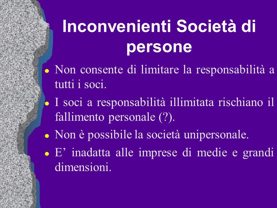 Inconvenienti Società di persone l Non consente di limitare la responsabilità a tutti i soci. l I soci a responsabilità illimitata rischiano il fallim