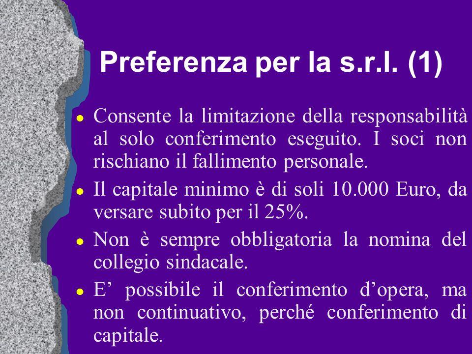 Preferenza per la s.r.l. (1) l Consente la limitazione della responsabilità al solo conferimento eseguito. I soci non rischiano il fallimento personal