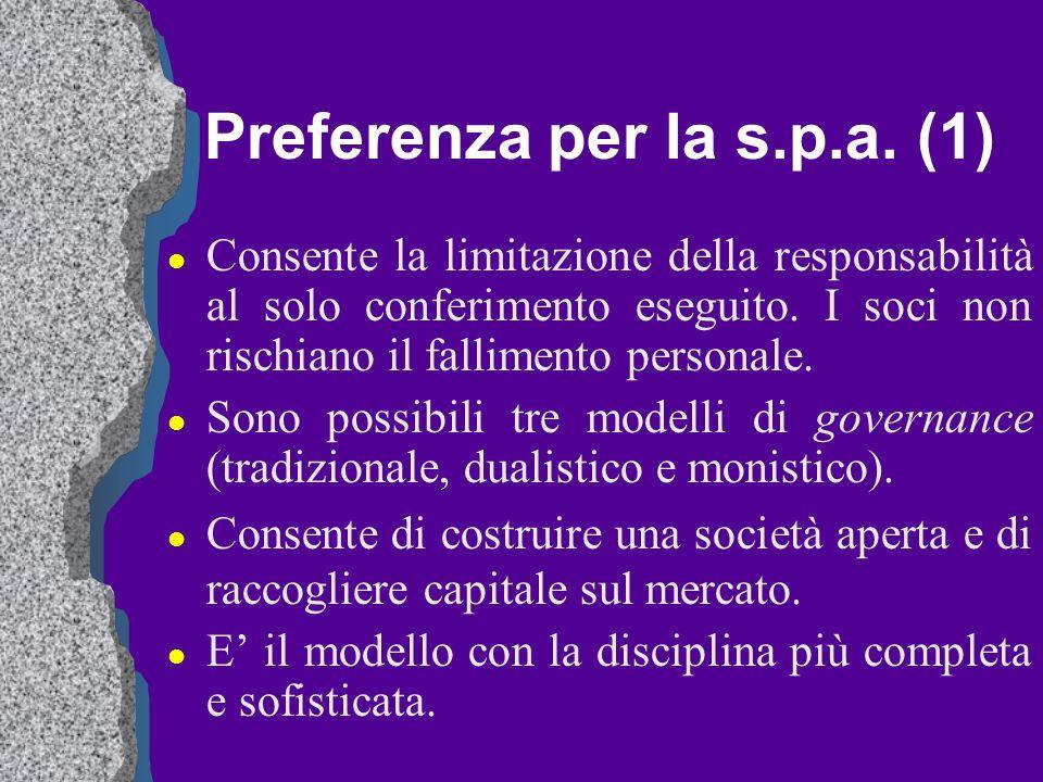 Preferenza per la s.p.a. (1) l Consente la limitazione della responsabilità al solo conferimento eseguito. I soci non rischiano il fallimento personal