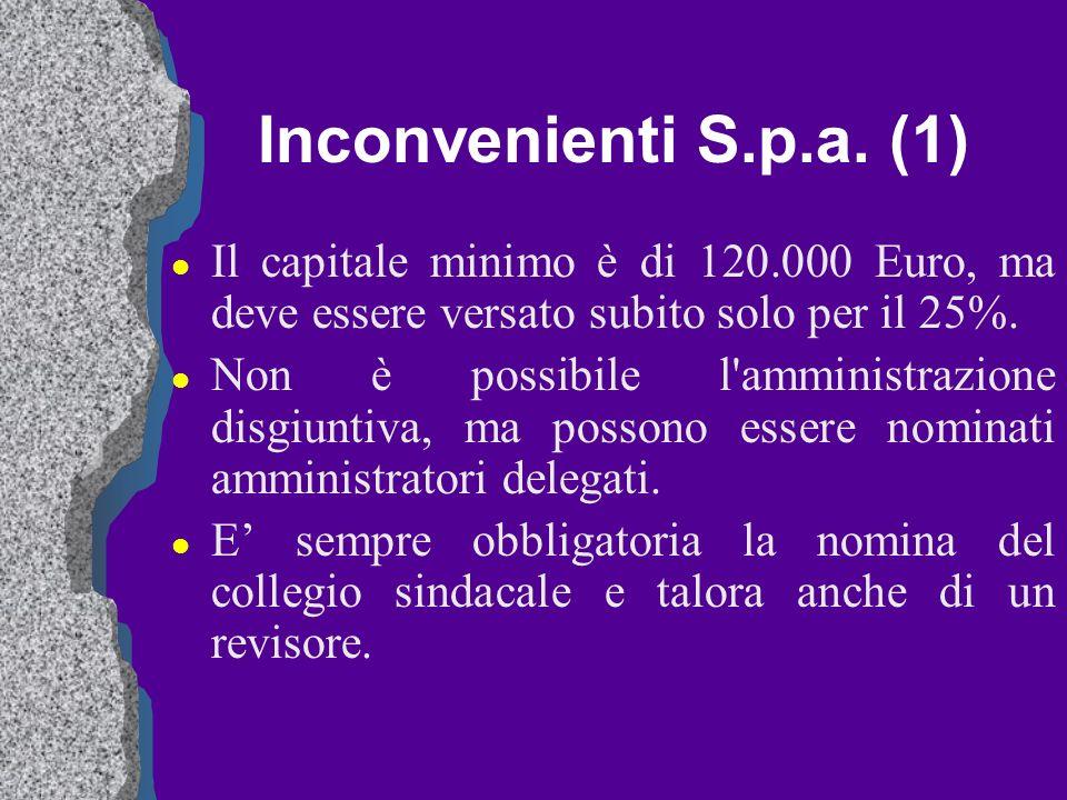 Inconvenienti S.p.a. (1) l Il capitale minimo è di 120.000 Euro, ma deve essere versato subito solo per il 25%. l Non è possibile l'amministrazione di