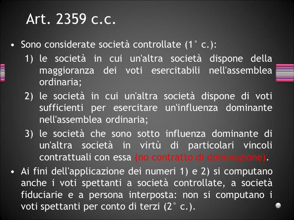 Art. 2359 c.c. Sono considerate società controllate (1° c.): 1)le società in cui un'altra società dispone della maggioranza dei voti esercitabili nell