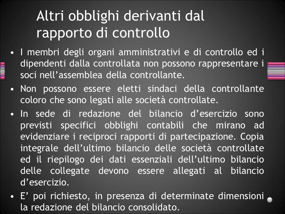 Altri obblighi derivanti dal rapporto di controllo I membri degli organi amministrativi e di controllo ed i dipendenti dalla controllata non possono r