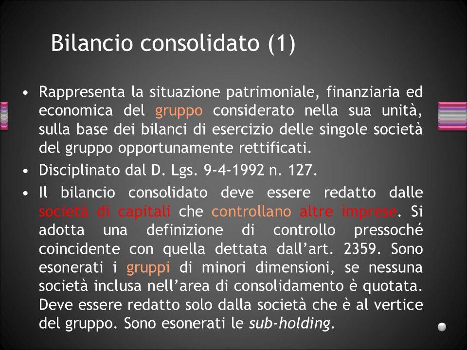 Bilancio consolidato (1) Rappresenta la situazione patrimoniale, finanziaria ed economica del gruppo considerato nella sua unità, sulla base dei bilan