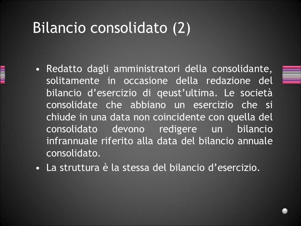 Bilancio consolidato (2) Redatto dagli amministratori della consolidante, solitamente in occasione della redazione del bilancio desercizio di qeustult