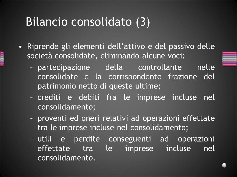 Bilancio consolidato (3) Riprende gli elementi dellattivo e del passivo delle società consolidate, eliminando alcune voci: –partecipazione della contr