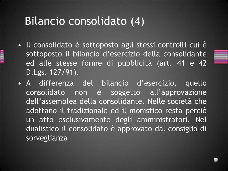 Bilancio consolidato (4) Il consolidato è sottoposto agli stessi controlli cui è sottoposto il bilancio desercizio della consolidante ed alle stesse f