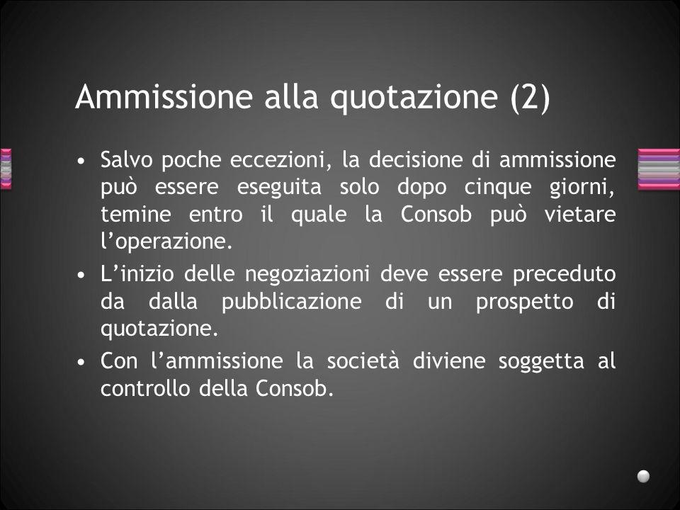 Ammissione alla quotazione (2) Salvo poche eccezioni, la decisione di ammissione può essere eseguita solo dopo cinque giorni, temine entro il quale la