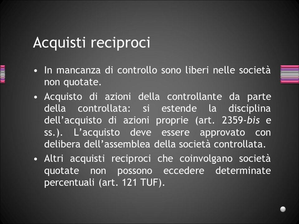 Acquisti reciproci In mancanza di controllo sono liberi nelle società non quotate. Acquisto di azioni della controllante da parte della controllata: s
