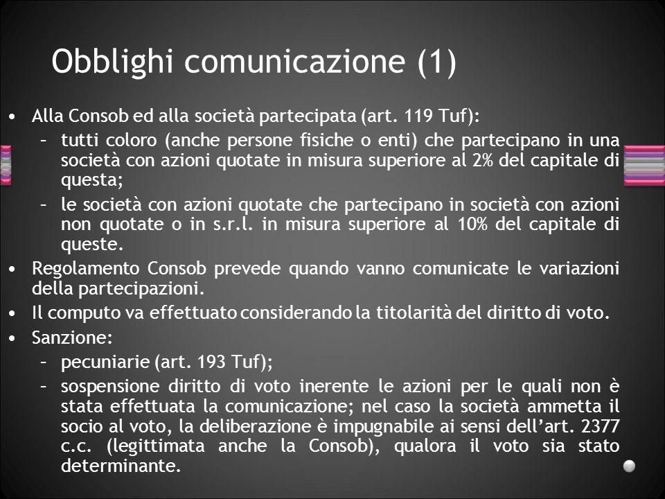 Obblighi comunicazione (2) Analoghi obblighi di comunicazione sono previsti per: –società bancarie, –sim, sgr, sicav, –società di assicurazione.