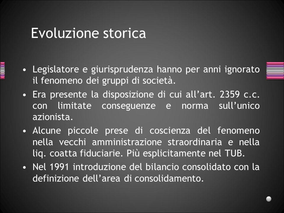 Evoluzione storica Legislatore e giurisprudenza hanno per anni ignorato il fenomeno dei gruppi di società. Era presente la disposizione di cui allart.