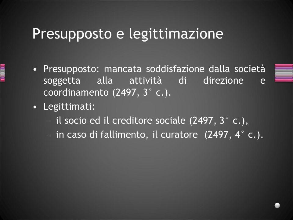 Presupposto e legittimazione Presupposto: mancata soddisfazione dalla società soggetta alla attività di direzione e coordinamento (2497, 3° c.). Legit