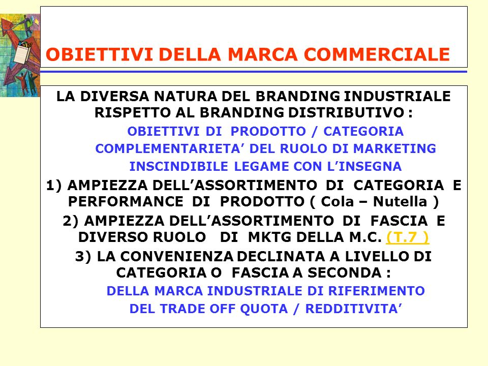 OBIETTIVI DELLA MARCA COMMERCIALE LA DIVERSA NATURA DEL BRANDING INDUSTRIALE RISPETTO AL BRANDING DISTRIBUTIVO : OBIETTIVI DI PRODOTTO / CATEGORIA COMPLEMENTARIETA DEL RUOLO DI MARKETING INSCINDIBILE LEGAME CON LINSEGNA 1) AMPIEZZA DELLASSORTIMENTO DI CATEGORIA E PERFORMANCE DI PRODOTTO ( Cola – Nutella ) 2) AMPIEZZA DELLASSORTIMENTO DI FASCIA E DIVERSO RUOLO DI MKTG DELLA M.C.