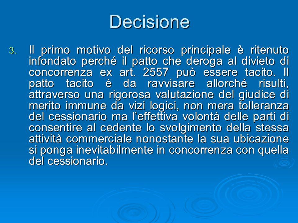 Decisione 3. Il primo motivo del ricorso principale è ritenuto infondato perché il patto che deroga al divieto di concorrenza ex art. 2557 può essere