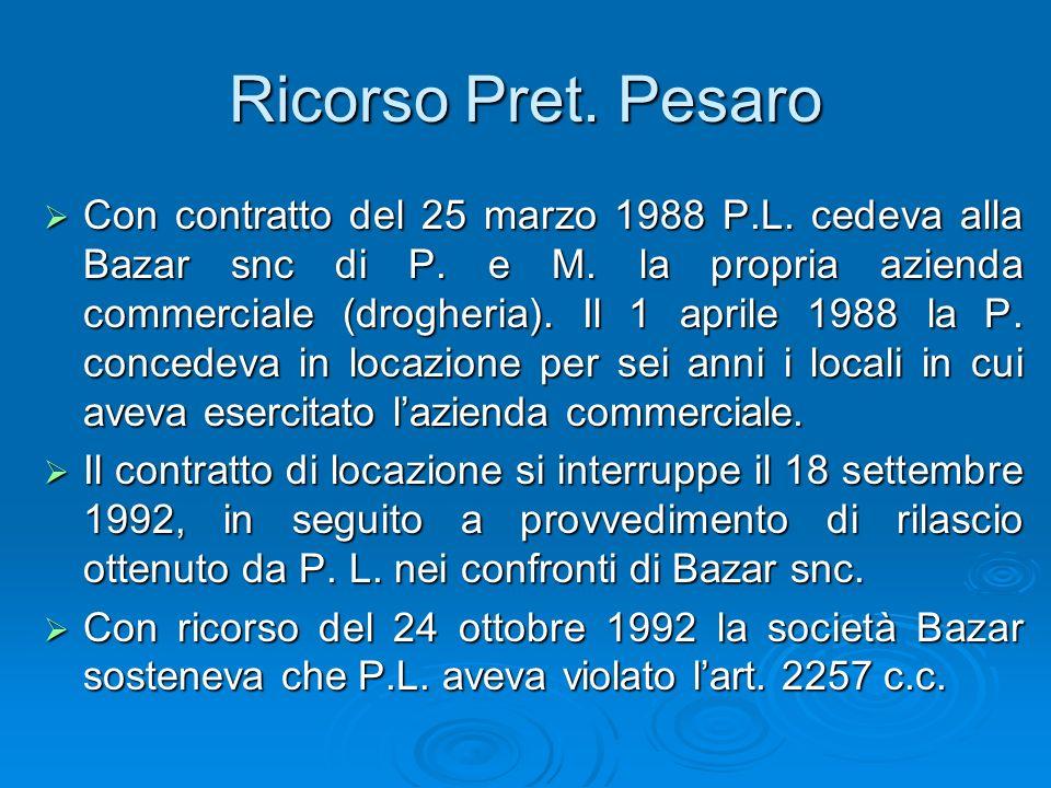 Ricorso Pret. Pesaro Con contratto del 25 marzo 1988 P.L. cedeva alla Bazar snc di P. e M. la propria azienda commerciale (drogheria). Il 1 aprile 198