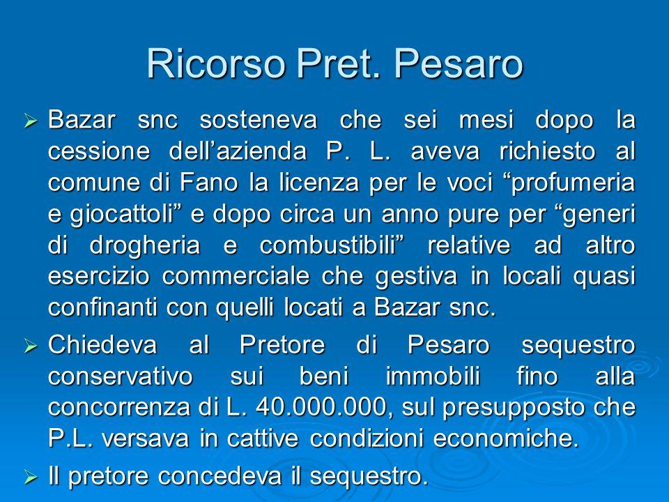 Ricorso Pret. Pesaro Bazar snc sosteneva che sei mesi dopo la cessione dellazienda P. L. aveva richiesto al comune di Fano la licenza per le voci prof