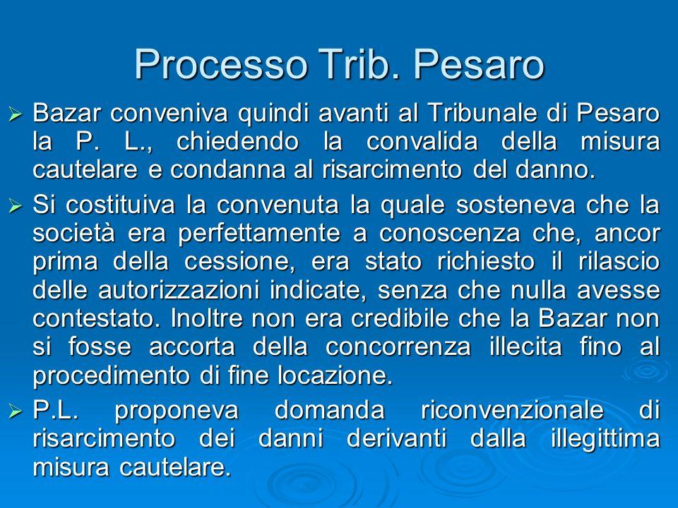 Processo Trib. Pesaro Bazar conveniva quindi avanti al Tribunale di Pesaro la P. L., chiedendo la convalida della misura cautelare e condanna al risar