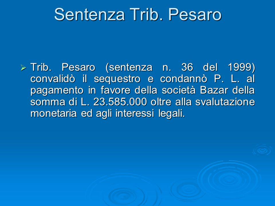 Sentenza Trib. Pesaro Trib. Pesaro (sentenza n. 36 del 1999) convalidò il sequestro e condannò P. L. al pagamento in favore della società Bazar della