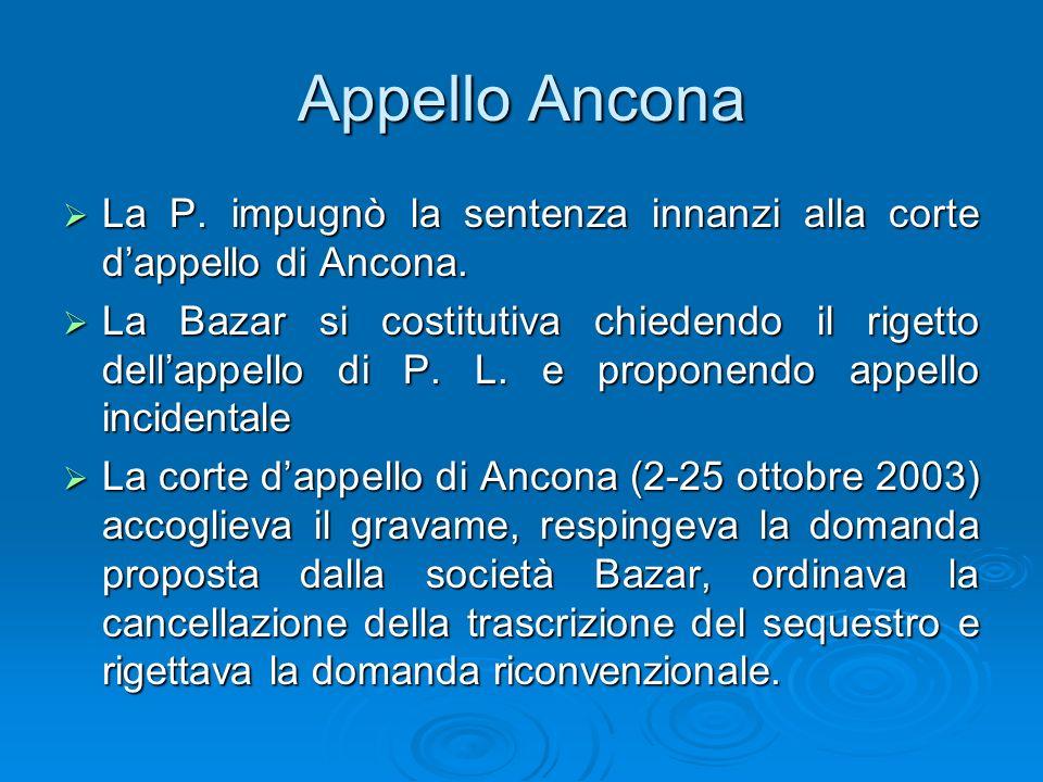 Appello Ancona La P. impugnò la sentenza innanzi alla corte dappello di Ancona. La P. impugnò la sentenza innanzi alla corte dappello di Ancona. La Ba