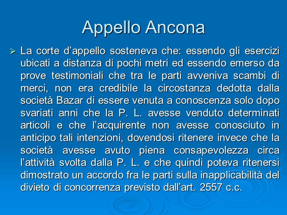 Appello Ancona La corte dappello sosteneva che: essendo gli esercizi ubicati a distanza di pochi metri ed essendo emerso da prove testimoniali che tra