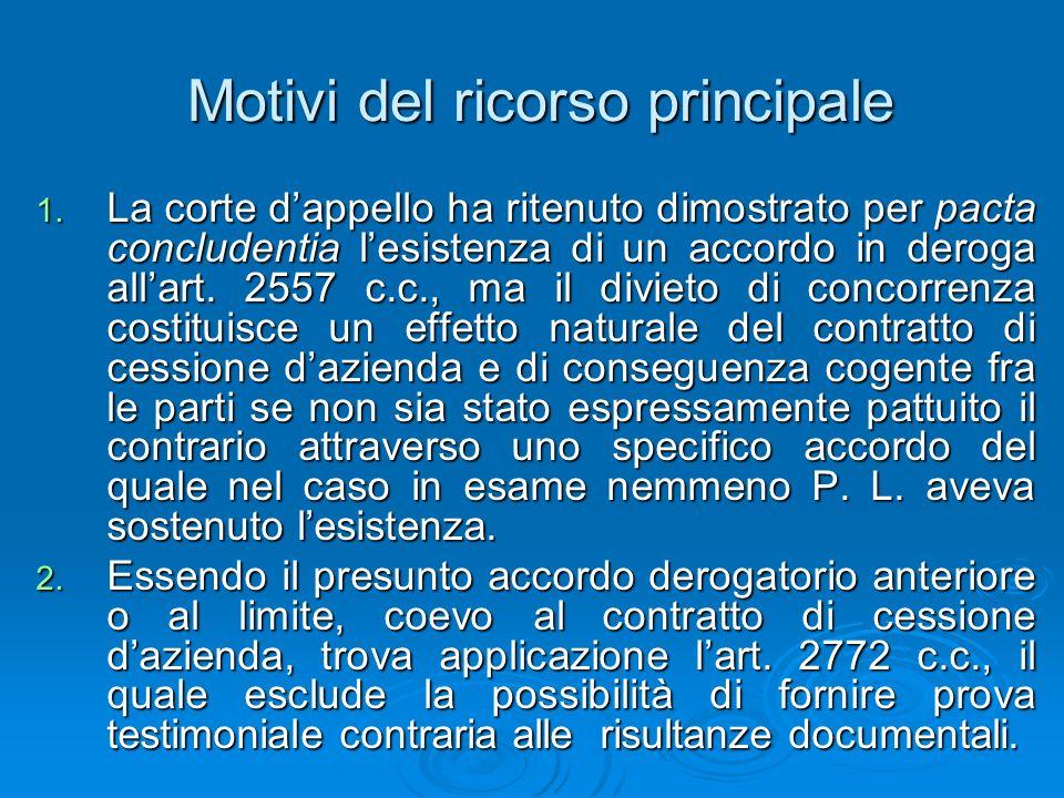 Motivi del ricorso principale 1. La corte dappello ha ritenuto dimostrato per pacta concludentia lesistenza di un accordo in deroga allart. 2557 c.c.,