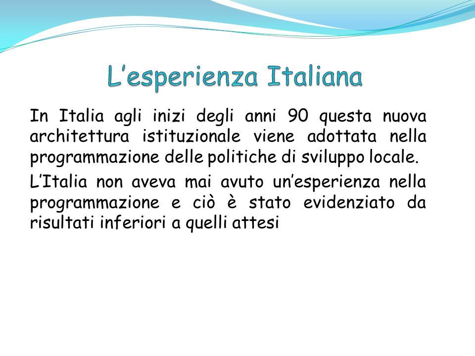 In Italia agli inizi degli anni 90 questa nuova architettura istituzionale viene adottata nella programmazione delle politiche di sviluppo locale. LIt