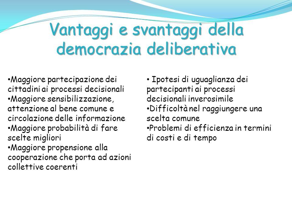 Vantaggi e svantaggi della democrazia deliberativa Maggiore partecipazione dei cittadini ai processi decisionali Maggiore sensibilizzazione, attenzion