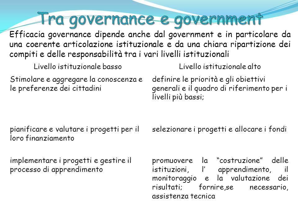 Efficacia governance dipende anche dal government e in particolare da una coerente articolazione istituzionale e da una chiara ripartizione dei compit