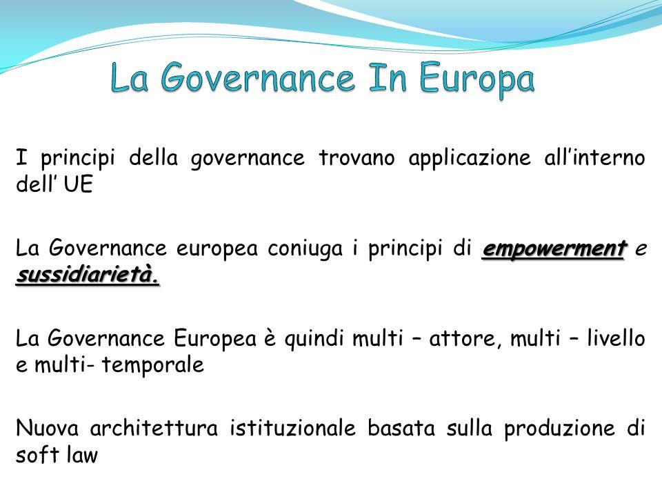 Evoluzione dei tre percorsi della governace europea: regolazione federata delle infrastrutture private (telecomunicazioni ed energia) Creazione di Network Agencies (EMEA) Metodo del coordinamento aperto Strategia Lisbona SEO.