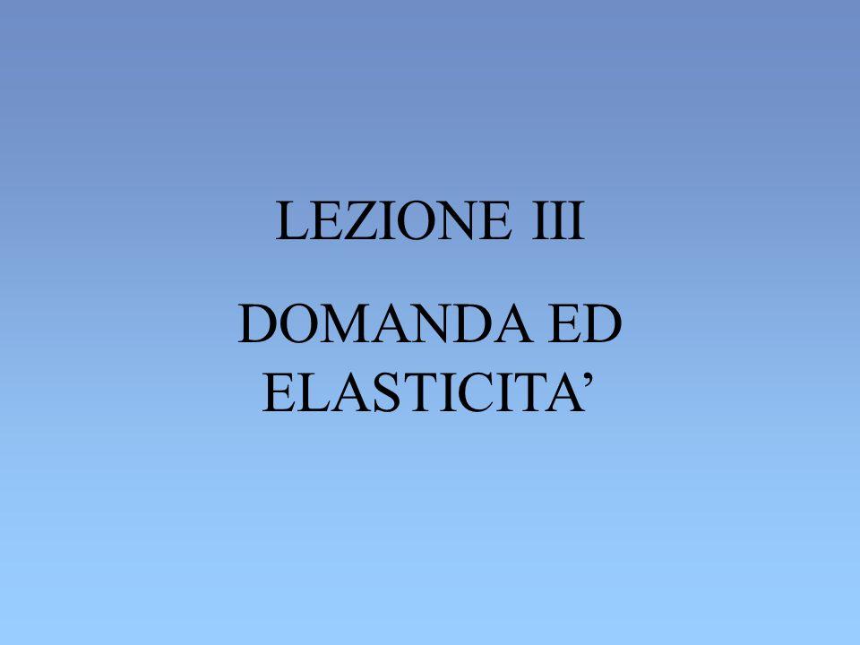 LEZIONE III DOMANDA ED ELASTICITA