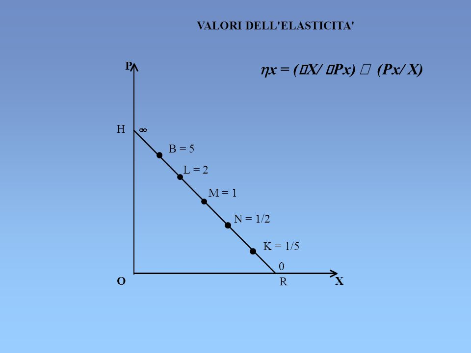 P O X R H N = 1/2 L = 2 M = 1 K = 1/5 0 VALORI DELL'ELASTICITA' B = 5 x = ( X/ Px) (Px/ X)