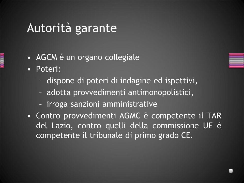 Autorità garante AGCM è un organo collegiale Poteri: –dispone di poteri di indagine ed ispettivi, –adotta provvedimenti antimonopolistici, –irroga san