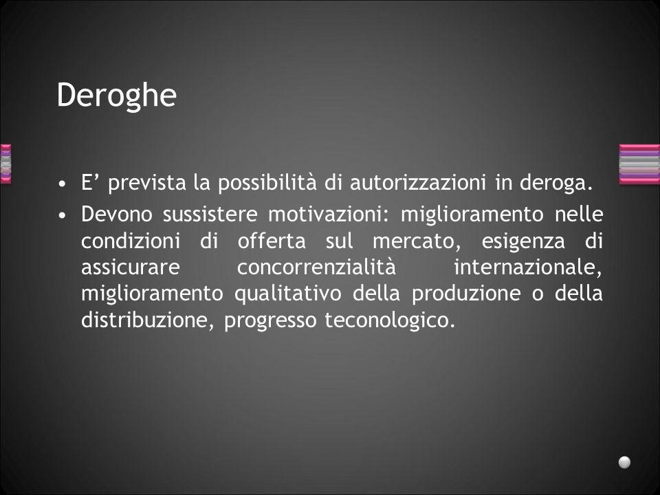 Deroghe E prevista la possibilità di autorizzazioni in deroga. Devono sussistere motivazioni: miglioramento nelle condizioni di offerta sul mercato, e