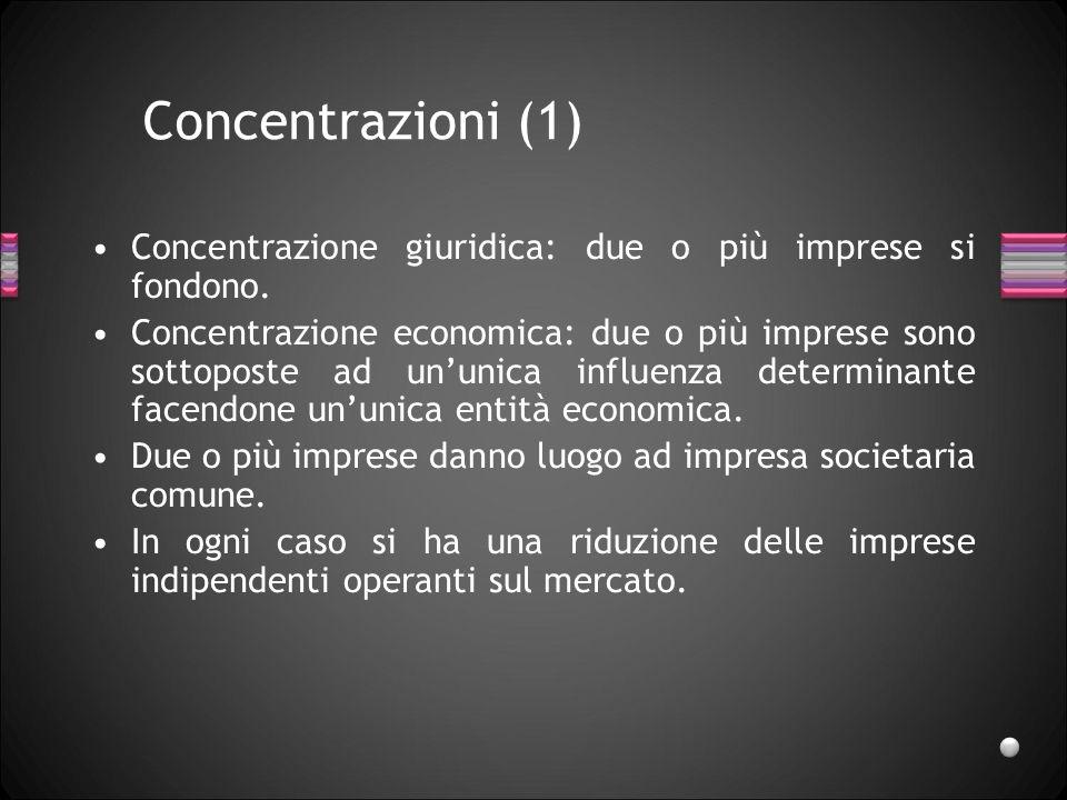 Concentrazioni (1) Concentrazione giuridica: due o più imprese si fondono. Concentrazione economica: due o più imprese sono sottoposte ad ununica infl