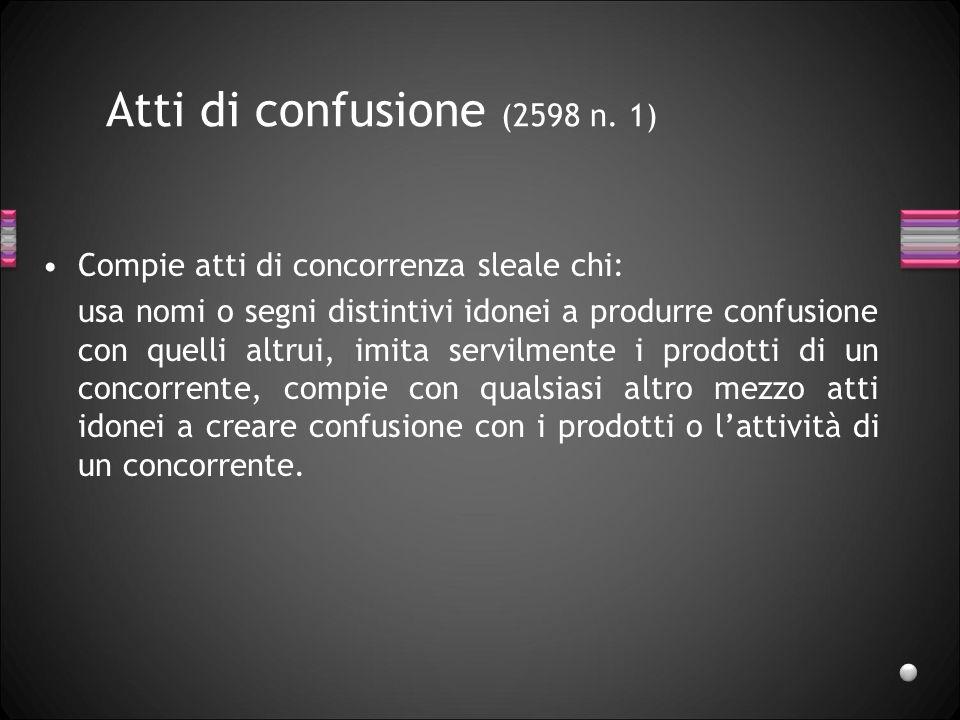 Atti di confusione (2598 n. 1) Compie atti di concorrenza sleale chi: usa nomi o segni distintivi idonei a produrre confusione con quelli altrui, imit