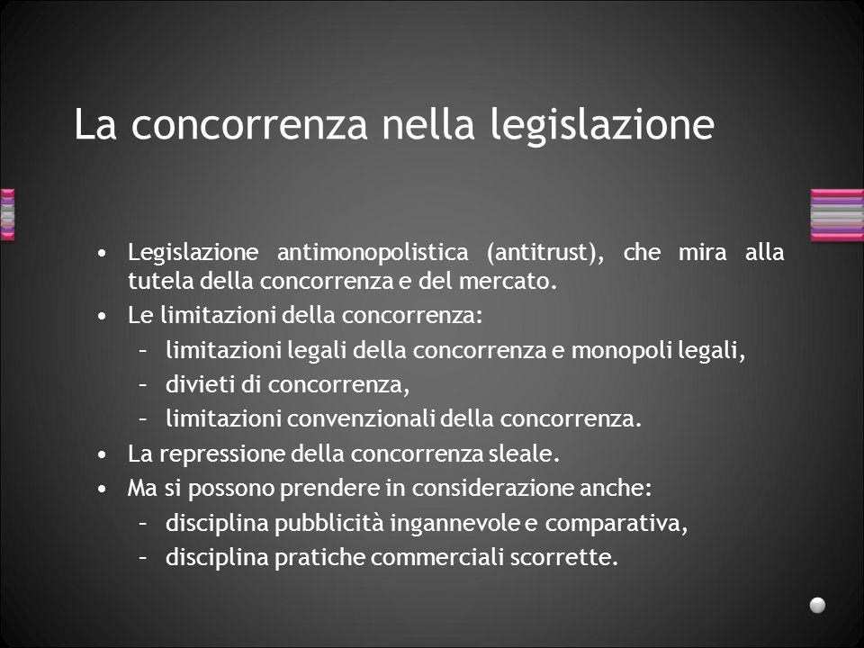 La concorrenza nella legislazione Legislazione antimonopolistica (antitrust), che mira alla tutela della concorrenza e del mercato. Le limitazioni del