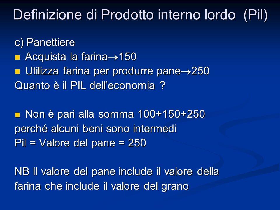 c) Panettiere Acquista la farina 150 Acquista la farina 150 Utilizza farina per produrre pane 250 Utilizza farina per produrre pane 250 Quanto è il PIL delleconomia .