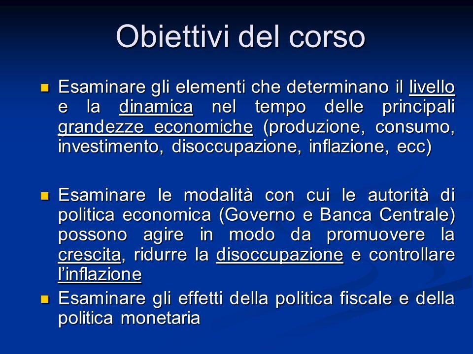 Lezione 1 Le principali grandezze macroeconomiche I Istituzioni di Economia Politica Parte II